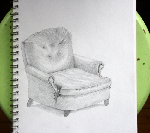 green chair pencil drawing armchair